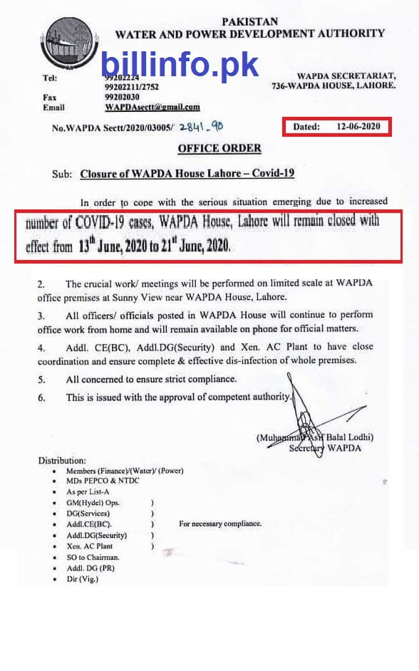 Wapda House Lahore will be remain close from 13 June to 21 June 2020 due to increase cases of COVID19