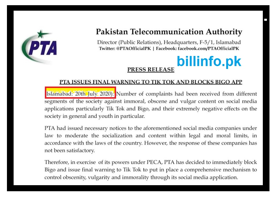 PTA Warning Against Tictok and Bigo Immporal and Vulgar content 20 july 2020