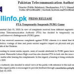 Shocking News For PUBG Lovers, PTA TEMPORARILY SUSPENDS PUBG GAME 01 July 2020