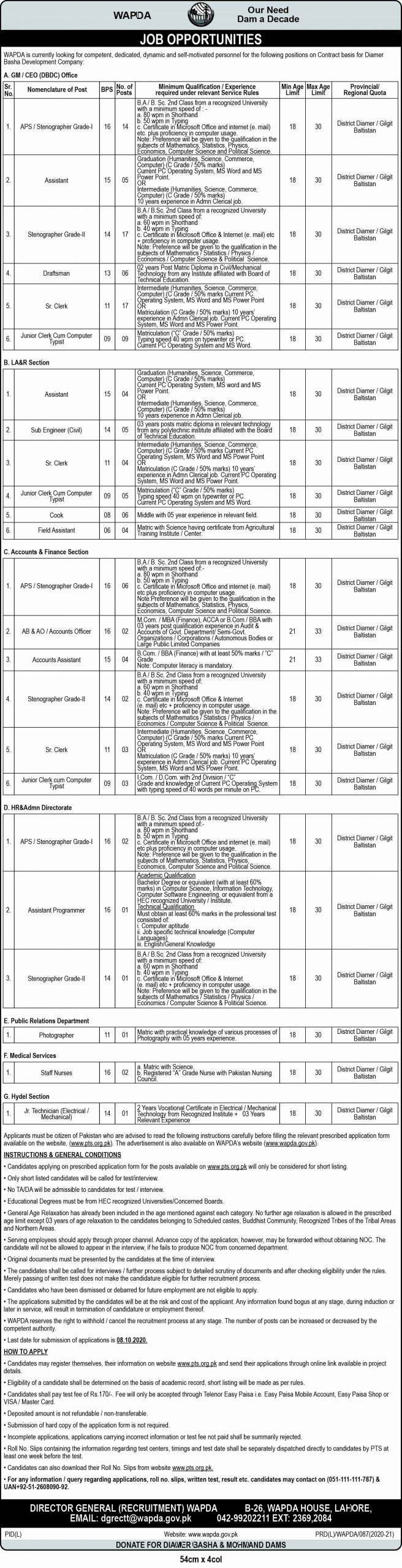 WAPDA Jobs On Contract Basis Last Date 08 October 2020 : Vacant Seats In DASU HYDRO POWER PROJECT, District Diamer, Gilgit Baltistan